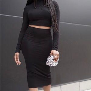 Black Long sleeve skirt set